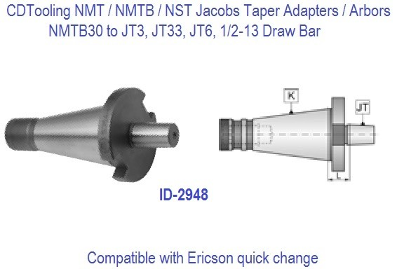 NMTB30 NST30 to JT2, JT3, JT33, JT6. Jacobs Taper Adapter / Drill Chuck Arbor ID 2948-