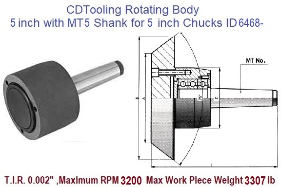 Rotating Chuck Lathe Body 5 inch with MT5 Shank for 5 inch Chucks ID 6468--3-573-055P