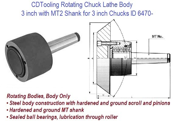 Rotating Chuck Lathe Body 3 inch with MT2 Shank for 3 inch Chucks ID 6470-3-573-032P