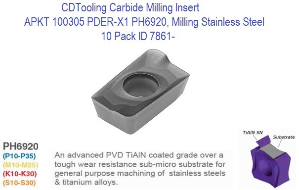 APKT 100305 PDER-X1 PH6920, Carbide Insert for Milling Steel, Stainless Steel, Titanium, 10 Pack ID 7861-