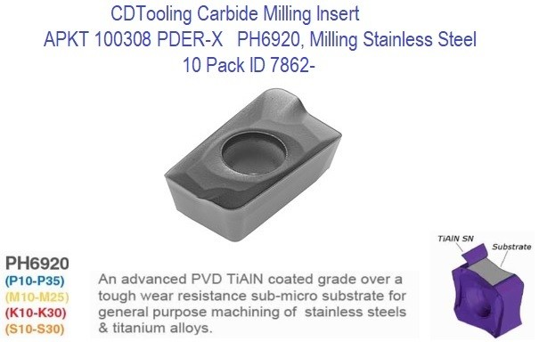 APKT 100308 PDER-X PH6920, Carbide Insert for Milling Steel, Stainless Steel, Titanium, 10 Pack ID 7862-