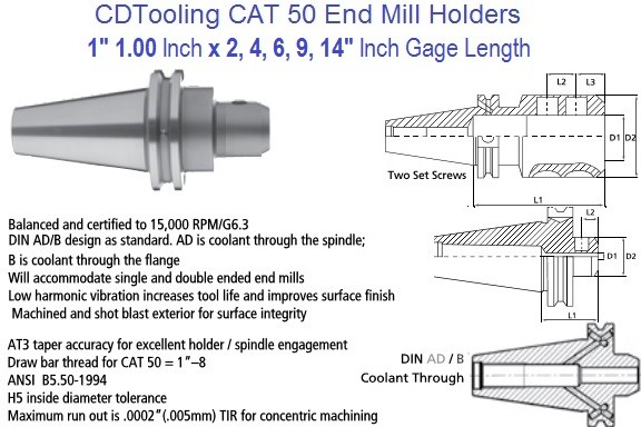 1.0 1 inch CAT 50 End Mill Holder 2, 4, 6, 9, 14 Inch Gage Length