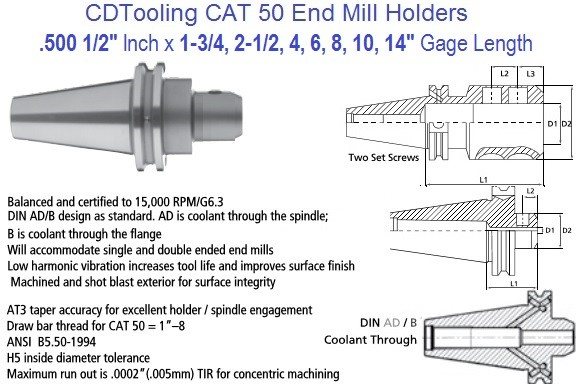 .500 1/2 CAT 50 End Mill Holder 1.75, 2.5, 4, 6, 8, 10, 14 Inch Gage Length