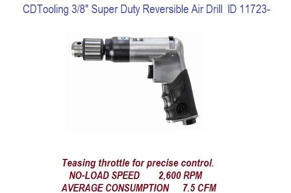 3/8 Inch Capacity Super Duty Reversible Air Drill ID 11723-