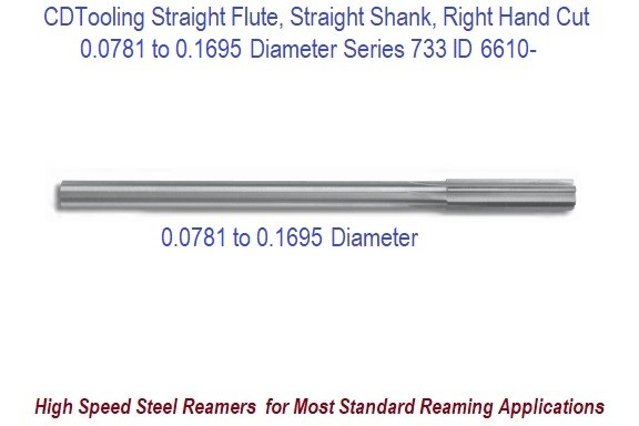 0.0781 to 0.1695 Diameter High Speed Steel Straight Flute, Straight Shank, Right Hand Cut Chucking Reamer Series 733 ID 6610-