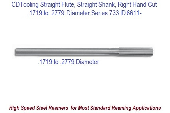 0.1719 to 0.2770 Diameter High Speed Steel Straight Flute, Straight Shank, Right Hand Cut Chucking Reamer Series 733 ID 6611-