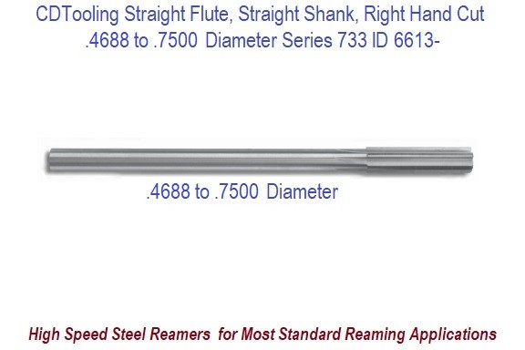 0.4688 to 0.7500 Diameter High Speed Steel Straight Flute, Straight Shank, Right Hand Cut Chucking Reamer Series 733 ID 6613-