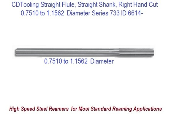 0.7510 to 1.562 Diameter High Speed Steel Straight Flute, Straight Shank, Right Hand Cut Chucking Reamer Series 733 ID 6614-