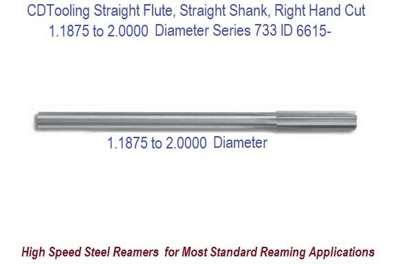 1.1875 to 2.0 Diameter High Speed Steel Straight Flute, Straight Shank, Right Hand Cut Chucking Reamer Series 733 ID 6615-