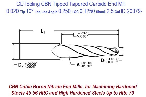 0.020 tip 10 Degree Per Side, 20 Included 0.250 Loc, 0.125 Shank, 2.5 OAL, CBN Tipped Ball End Mill ID 20379-