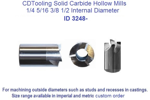 Hollow Mills Solid Carbide 3 Flute 3/32 Inside Diameter 5/8 Outside Diameter AlTiN Coated 3248-