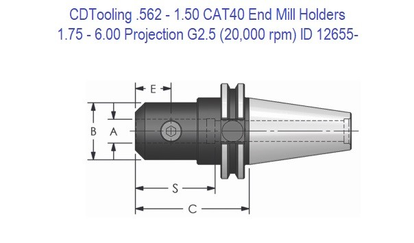 .562 - 1.50 CAT 40 End Mill Holders 1.75 - 6.00 Projection, G2.5 Balanced to 20,000 rpm ID 12655-