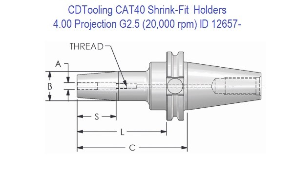 CAT 40 Shrink-Fit Holders 4.00 Projection, G2.5 Balanced to 20,000 rpm ID 12657-