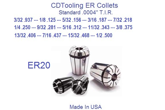 ER20 Collets USA 3/32, 1/8, 5/32, 3/16, 7/32, 1/4, 9/32, 5/16, 11/32, 3/8, 13/32, 7/16, 15/32, 1/2