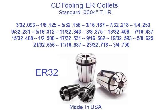 """ER32 5//16/"""" Spring Collet Precision 8 Micron"""