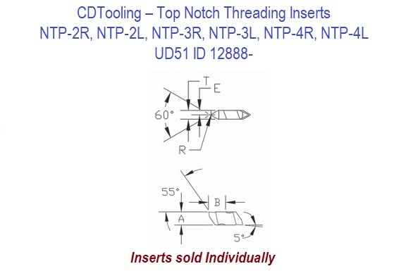 NTP-2R, NTP-2L, NTP-3R,  NTP-3L, NTP-4R, NTP-4L - UD51 - Top Notch Threading Inserts - ID 12888-