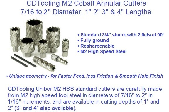 Annular Cutters M2 High Speed Steel 7/16 to 2