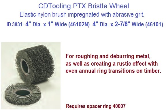 4 Inch Diameter PTX Impregnated Grit Bristle Wheel Drum Brush 2-7/8 or 1 Inch Wide PTX Linear Finishing  ID 3831-