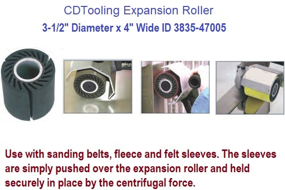 3-1/2 diameter x 4 Inch wide Expansion Roller Use with sanding belts, fleece and felt sleeves ID-3835-47005