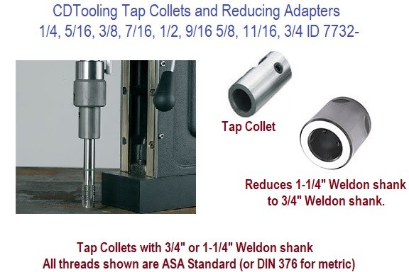 Tap Collets and Reducing Adapters For Magnetic Drilling Units 1/4, 5/16, 3/8, 7/16, 1/2, 9/16 5/8, 11/16, 3/4 ID 7732-