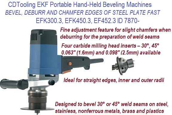 EKF Portable Hand-Held Beveling Machines, Bevel, Chamfer, Ideal for Inner, Outer Radii, Countersink, Deburr ID 7870-