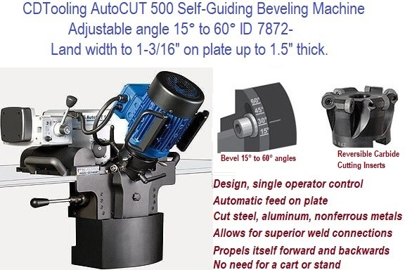 AutoCUT 500 Self-Guiding Beveling Machine Adjust angle 15 to 60 Degree, Land width 1.87 plate to 1.5 Inch ID-7872-