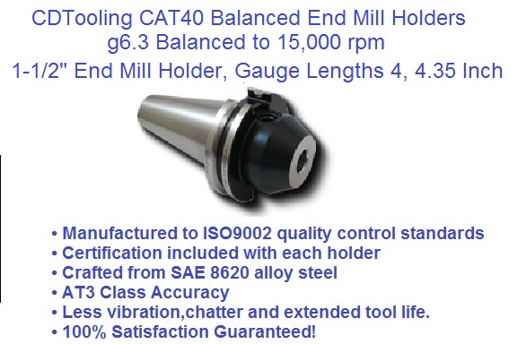 CAT-40 1-1//2 END Mill Holder GAGE Length 4.00 C40-15EM400-K