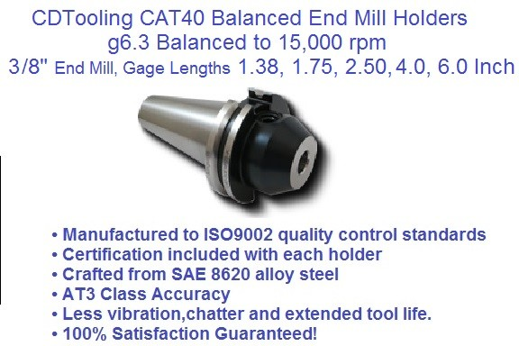 CAT40 3/8 (0.250), Gage Lengths, 1.38, 1.75, 2.50, 4.50 6.0, End Mill Holders G6.3