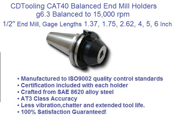CAT40 1/2 (0.500), Gage Lengths, 1.37, 1.75, 2.62, 4.0,5.0 6.0, End Mill Holders G6.3