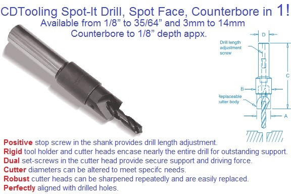 Spot It Combination Drill and Spot-face,Conterbore 1/8 to 35/64 inch and 3mm to 14mm ID 2139-