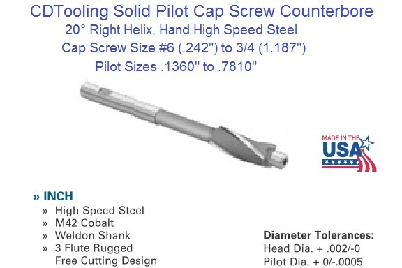 Cap Screw Counterbores High Speed Steel Sizes 6,8,10,1/4,5/16,3/8,7/16,1/2,9/16, 5/8, 3/4 ID 1704-