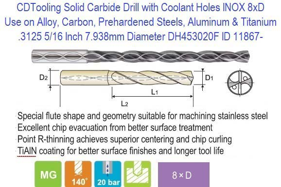 "7//32/"" Solid Carbide Drill .2188/"" Straight Flute"