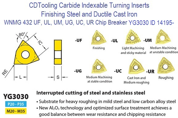 IRONWALLS 30pcs CNMG 432 WNMG 432 TNMG 332 CNC Lathe Indexable Solid Carbide Turning Insert Cutting Blade for Turning Tool Holder for Roughing Finishing of Steel Iron