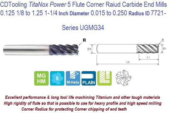GEC-250-4-030 Number of Flutes: 4 3//4 Length of Cut Uncoated Micro 100 Corner Radius End Mill GEC 1//4 Milling Dia.