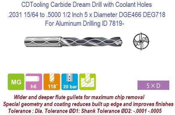 "3XD 19//64/"" Carbide Dream Drill TiALN Coated Stub Length Without Coolant Holes"