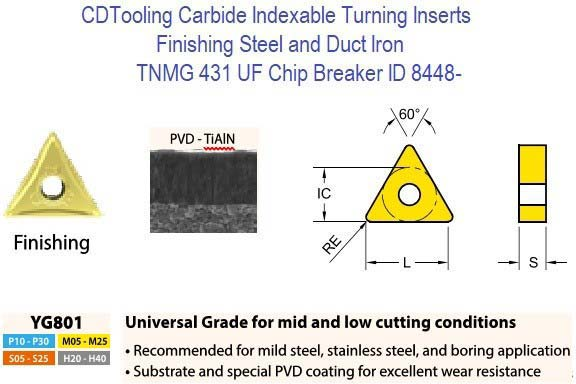TNMG 431 UF Chip Breaker, Grade YG801, Carbide Insert for Mild Steel, Stainless Steel And boring applications ID 8448-