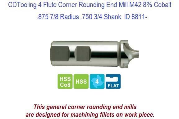 1.75 mm Magafor 88855001750 Carbide Mini Corner Rounding End Mill