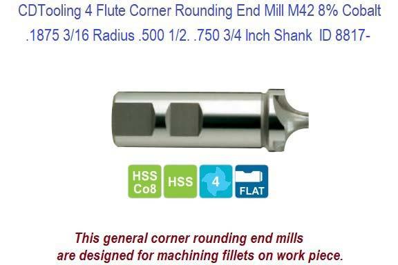 ".1875/"" 3//16/"" RADIUS HIGH SPEED STEEL CORNER ROUNDING END MILL 1//2/"" SHANK"