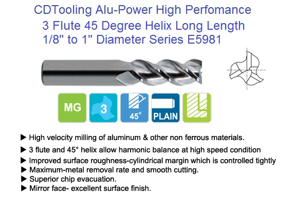 "End Mill Helical 1//2/"" 3 FLT ZrN Carbide High Perf for Aluminum,Non-Ferrous"