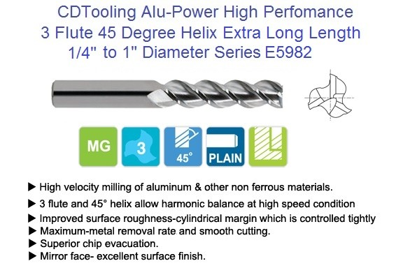 3 Flute 45 Degree Alu-Power Carbide End Mill 45 Degree High Helix Extra Long Length Series 5982 1/4 -1