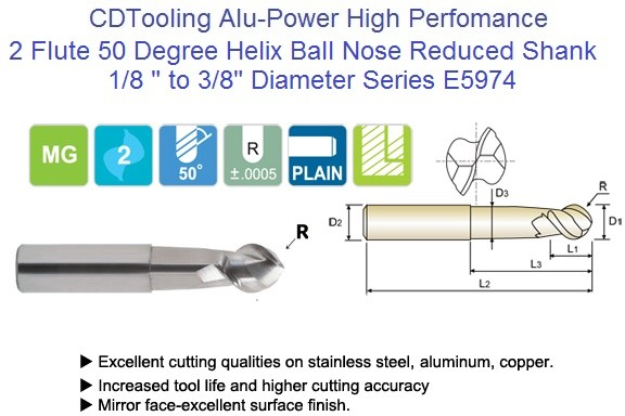 2 Flute Alu-Power 50 Degree Helix Ball Nose End Mills E5974 1/8 to 3/8