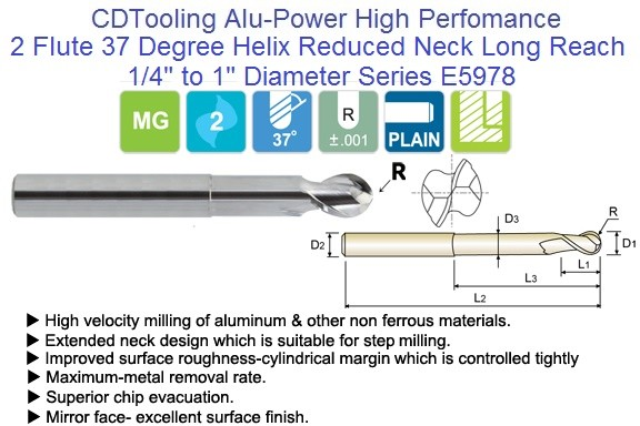 2 Flute Alu-Power 37 Degree Helix Ball Nose Extended Reach End Mills E5978 1/8 TO 1