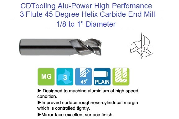 2 Flute 45 Degree Alu-Power Carbide End Mill 42 Degree High Helix  Length 1/4 -1