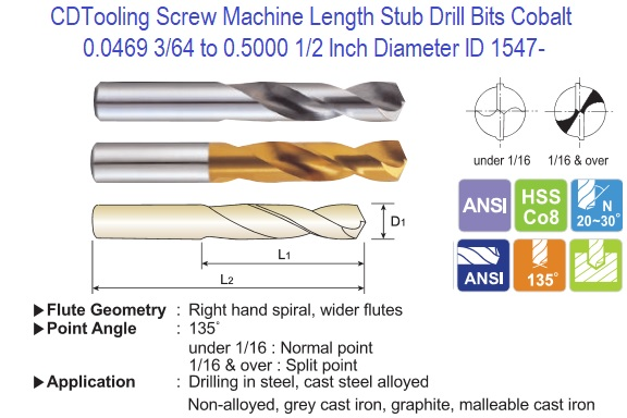 29 HSS Sizes No Half Round Drill Bit .1360