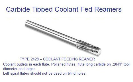 7/16 0.4375 REAMER COOLANT FED FOR Through Flute - Left Spiral Flute - ID: 1263-242814