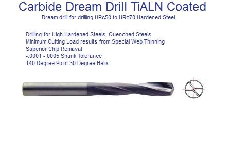 Carbide Dream Drill Bits For Hardened Steel HRc50 - HRc70