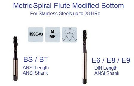 M3.0 - 0.5 D3 3FL Spiral Flute, Modi Bottom -  Stainless Steel STEAM OXIDE TAP - ID: 1144-BS203