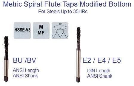 Metric Spiral Flute Modified Bottom Taps Din and ANSI Steels to 35 HRc