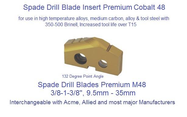 "1-5//16/"" Spade Drill Insert Series 2 Powdered Metal Hardslick Coated YG-1 #S09222"