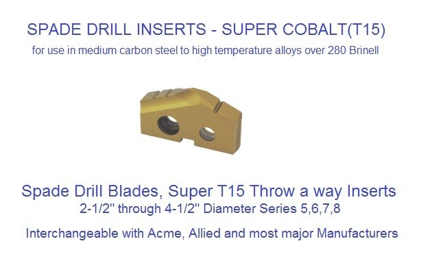 THROW-AWAY DRILL INSERTS Hardslick Coated T-15 Spade Inserts 2-1/2 - 4-1/2